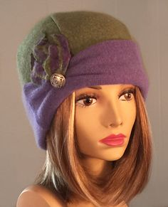 Mary Anne 100% pure cashmere hat cloche with hand by LuminataCo