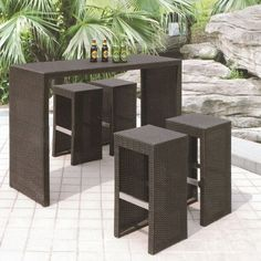 Have to have it. Royal Garden All-Weather Wicker Bar Set - Black $692.00