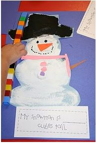 Snowman fun. 3rd graders can enjoy art by making there fun snowman out of construction paper and other materials provided. After constructing their snowman students can use their math skills to see how tall their snowman is and how wide.