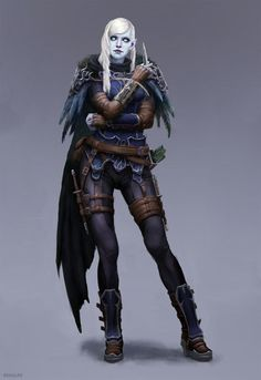 f Half Drow Elf Rogue Arcane Trickster Leather Armor Cloak Daggers Poison female undercity urban City upper worlder lg Female Character Concept, Fantasy Character Design, Character Drawing, Character Inspiration, Character Ideas, Dungeons And Dragons Characters, Dnd Characters, Fantasy Characters, Female Characters