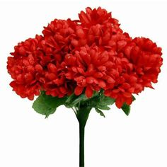 84 Silk Chrysanthemum - Red | Have limited budget for real Chrysanthemum? Our beautiful Chrysanthemum is your ideal choice to create the cheerful atmosphere. The vibrant color is accented with dew to create the realistic look. This gorgeous flower is care free and will be the decor essence to add a touch in your wedding decoration.  Assorted colors available.