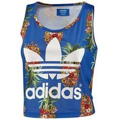 Adidas Frutaflor Tank ($35) ❤ liked on Polyvore featuring tops, shirts, tank tops, oversized jersey shirt, blue floral shirt, adidas jersey, floral pattern shirt and jersey shirt