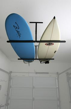 If you like to hang your prized possessions over your head then the new ceiling mounted surfboard, snowboard, wakeboard, kiteboard, ski, kayak, mother in...