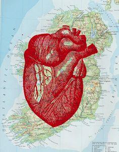 Vintage Human Heart Map Print