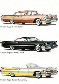 1959 Dodges: Custom Royal Four Door Sedan, Custom Royal Lancer Hardtop, & Custom Royal Lancer Convertible brought to you by House of Insurance Eugene, Oregon Chevy, American Classic Cars, Car Illustration, Abandoned Cars, Car Advertising, Pedal Cars, Us Cars, Art Graphique, Retro Cars