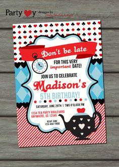 Tea Party Birthday Invitation, Mad Hatter Tea Party Invitation, Alice in Wonderland Inspired Invitation, Tea Party Invitation, Black and Red...