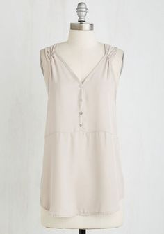 Presh Professional Top in Beige - Mid-length, Sheer, Woven, Tan, Solid, Casual, Sleeveless, Buttons, V Neck