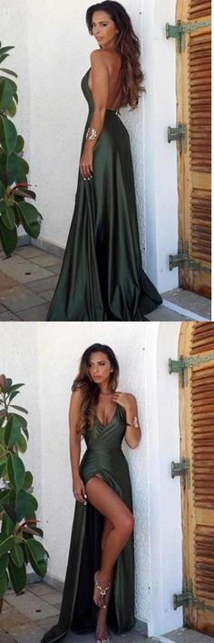 Elegant Simple Sexy Backless High Split Long V-Neck Open Back Green Prom Dresses, This dress could be custom made, there are no extra cost to do custom size and color Cheap Prom Dresses Uk, Affordable Prom Dresses, Elegant Prom Dresses, Backless Prom Dresses, Cheap Evening Dresses, Cute Dresses, Dresses Dresses, Simple Dresses, Evening Gowns