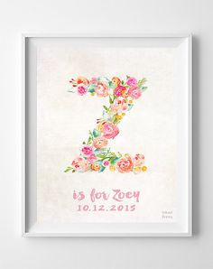 Customizable Poster, Personalized Baby Gifts, Zoe, Zoey, Zara, Zelda, Zia, Personalized Prints, Personalized Poster, Easter Decorations