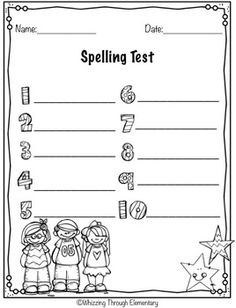 Spelling Test Template  Literacy Activities And Students