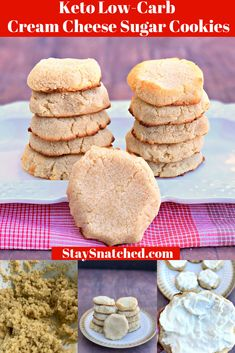 Easy Keto Low-Carb Soft Cream Cheese Sugar Cookies is a simple, gluten-free and . Easy Keto Low-Carb Soft Cream Cheese Sugar Cookies is a simple, gl. Keto Cookies, Low Sugar Cookies, Cream Cheese Sugar Cookies, Chocolate Chip Cookies, Simple Sugar Cookie Recipe, Low Carb Cookie, Healthy Sugar Cookies, Low Sugar Snacks, Gluten Free Christmas Cookies