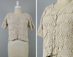 Tapa del ganchillo vintage crema suéter blusa por FiendsAndLovers