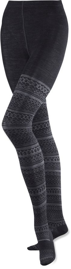 "Smartwool Tights... comfy and warm... I can wear skirts in the winter again! (I refuse to wear ""hose."") Available in black, purple and green at athleta.com (cheaper than REI price, too)."