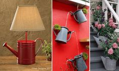 ΦΤΙΑΞΤΟ ΜΟΝΟΣ ΣΟΥ: Εκπληκτικοί Τρόποι για να Χρησιμοποιήσετε ένα Μεταλλικό Ποτιστήρι Watering Can, Annie Sloan, Gourds, Decoupage, Diy And Crafts, Wall Lights, Table Lamp, Canning, Creative Ideas