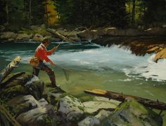 Deep in the Pool. Fly fishing painting by Brett James Deep in the Pool. Fly fishing painting by Brett James Smith Deep in the Pool. Fly fishing painting by Brett James Smith - Fly Fishing Lures, Best Fishing, Trout Fishing, Fishing Canoe, Fish Tank Coffee Table, Fishing Pictures, Fishing Girls, Fishing Outfits, Sports Art