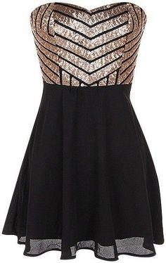 Charming Sequin Homecoming Dress,Black Chiffon Prom Dress,Sweetheart Cocktail Dress