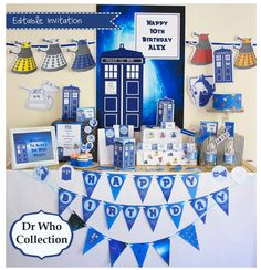 Make your party magical with this super fun Dr Who Inspired Mega Set!  This collection is editable so you can add your own wording.