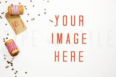 Christmas Styled Stock Photography - Desktop stock photo - White Desk - joy - stock photo - holiday - red and gold - sequins - twine - spool