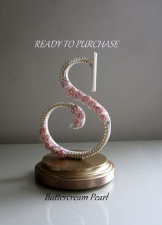 Cake Topper Monogram Letter S/ Shabby Chic by ButtercreamPearl