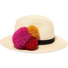 Eugenia Kim Lillian pompom-embellished straw hat (630 BRL) ❤ liked on Polyvore featuring accessories, hats, sand, pompom hat, embellished hats, pom pom hats, band hats and eugenia kim
