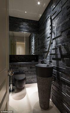Former Mayfair milking parlour goes on market for Modern Bathroom Decor, Bathroom Interior Design, Small Bathroom, Interior Decorating, Master Bathroom, Wc Design, Toilet Design, Black Toilet, Small Toilet