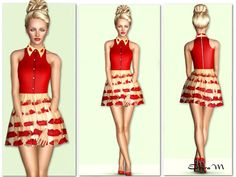 The Sims Resource - TSR Lip-Embroidered collar Dress by EsyraM - Sims 3 Downloads CC Caboodle