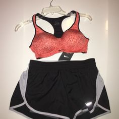NWT NIKE BRA/SHORT SETBRA SZ 34B short S/MED NWT NIKE BRA/SHORT SET.BRA IS ORANGE AND BLACK SZ 34B ONLY. And IT RETAILS FOR $77. SHORTS Are black and grey and are NIKE's 2-N-1 SHORTS AMD HAVE IN SIZE SMALL OR MED.‼THESE ITEMS RETAIL FOR $122‼️‼️‼️ CANNOT BUNDLE FOR BIGGER DISCOUNT BECAUSE HAVE MARKED ITEMS IN THIS SET AS LOW AS I CAN‼️‼️NO LOWBALL OFFERS PLEASE‼️ Nike Other