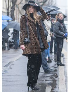 Angelica Ardasheva in Nanette's leopard coat for MarieClaire.com Street Style at Fall 2013 Milan Fashion Week