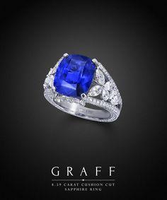 Graff Diamonds: 8.59 carat Cushion Cut Sapphire Ring