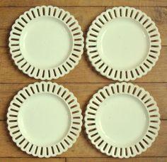 ANTIQUE Reticulated WEDGWOOD Creamware Plates Circa 1800