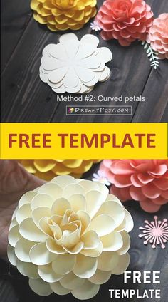 Easy paper flower with SVG |PDF template Printable Planner Stickers, Templates Printable Free, All Paper, How To Make Paper, Free Paper Flower Templates, Create And Craft, Silhouette Machine, Flower Tutorial, Paper Decorations