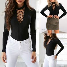 Women Sexy Lace Up Long Sleeve Slim Romper