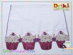 Patchwork moldes cupcake com cereja em patch aplique - Drika Artesanato - O seu Blog de Artesanato.