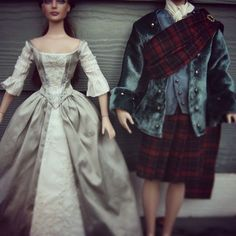 Outlander Jamie/Claire Wedding Custom Doll Costumes - by Morgan May (www.stardustdolls.com) #outlander #jamiefraser #clairefraser #18thcentury #outlanderwedding #caitrionabalfe #samheughan #doll #tonnerdoll #tonner #art #artist #ooak #ooakdoll #ooaktonner #customdoll #artdoll #costume #couture #sewing #dolls