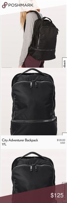 City Adventurer backpack 🎒 LULULEMON 🌟L/17L🌟 solid black 🌟 super functional, perfect or everyday wear, to-from gym, travel-anything & everything..this is YOUR bag!!!! 🌟 purchased March 2018, current style, this is the same backpack but the fabric is a little stronger than the last model before🌟 Why we made this This backpack was designed for a quick work-to-workout transition with a built-in pocket for sweaty gear. Fabric; Fabric is water-repellent, durable, and easy to wipe clean…