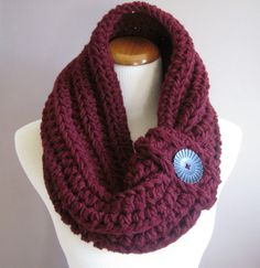 Cowl Chunky Bulky Button Crochet Cowl: Burgundy Red with Black Button
