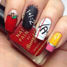 - Best ideas for decoration and makeup - School Nail Art, Back To School Nails, Get Nails, Love Nails, Pretty Nails, Cool Nail Designs, Acrylic Nail Designs, Emoji Nails, Nail Art Instagram