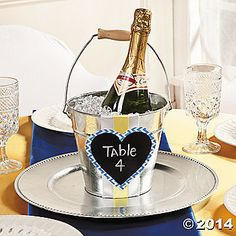 Cute DIY Idea. Plus champagne is already out for the toast.