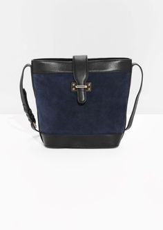 & Other Stories Leather & Suede Bucket Bag in Blue