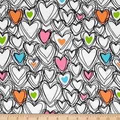 Jersey Knit Scribble Hearts White from @fabricdotcom  From Springs Creative Products, this lovely lightweight printed cotton/lycra jersey knit fabric features 40% four-way stretch for comfort and ease. Ideal for children's apparel, pajamas, lined or gathered skirts and dresses, and t-shirts. Colors include black, white, turquoise, pink, green, orange, and blue.