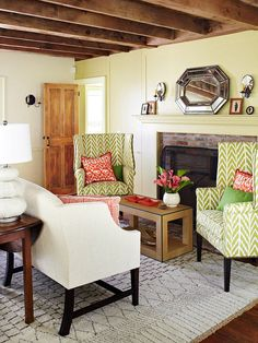 Channel the leafy outdoors with this country garden color scheme: http://www.bhg.com/decorating/color/schemes/color-combos-using-green/socsrc=bhgpin102014countrygardencolorscheme&page=4