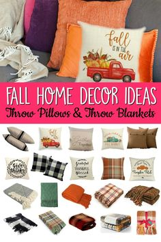 Looking to spruce up your home for fall? You'll love these fall decor ideas! Choosing fall throw pillows and blankets makes it easy to implement! Fall Pillows, Throw Pillows, Decorating On A Dime, Fall Decorating, Thankful And Blessed, Colorful Pillows, Autumn Theme, Fall Home Decor, Throw Pillow Covers