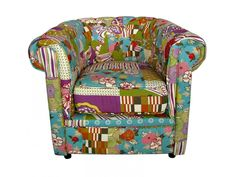 Fauteuil chesterfield PERTH II en tissu patchwork