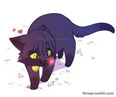 ferisae: Of black kitties and ladybugs ~ <3 Small doodle done between commissions.
