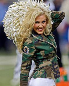 St.Louis Rams Cheerleader, Happy veteran's day NFL..! Football Cheerleaders, Cheerleading, Hot Fan, La Rams, Military Camouflage, Sport Girl, St Louis, Modeling, Acting