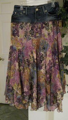 Fleurs de Provence jean skirt purple floral lavender violet bohemian faerie Renaissance Denim Couture. $72.00, via Etsy.
