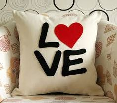 Liefde en hart - kussensloop - natuurlijke crème