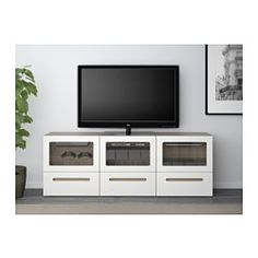 BESTÅ TV bench with doors and drawers - walnut effect light gray/Marviken white clear glass, drawer runner, soft-closing - IKEA