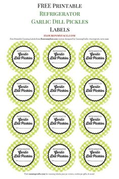 FREE Printable Refrigerator Garlic Dill Pickles Canning Labels Home Canning Recipes, Canning Tips, Garlic Dill Pickles, Tapas, Free Label Templates, Canning Jar Labels, Canning Pickles, Refrigerator Pickles, Homemade Pickles