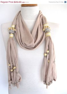 acolline's save of ON SALE SULTANA Scarf Decorated With Crystals, Beads and Stones, Cotton, Organic, Extra Long, Stylish,Fringed, Beige on Wanelo